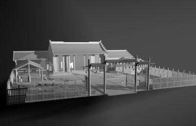 古式庭院,古代民宅庭院maya模型