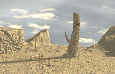 荒�之地,沙漠化地�^�鼍�max模型,�N�D全