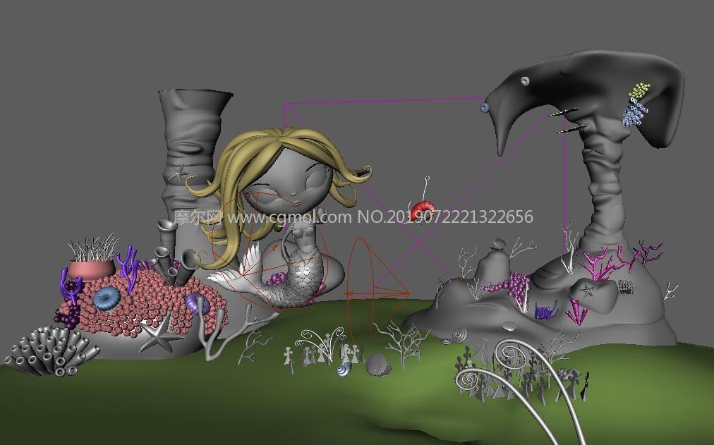 卡通�L格的美人�~海底世界�鼍�maya模型