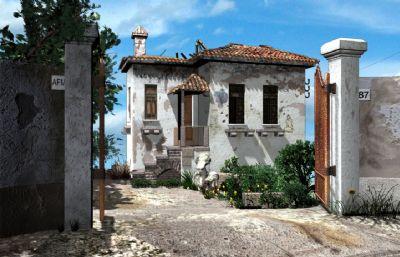 年代已久的海��e墅,海景房Maya模型(�W�P下�d)