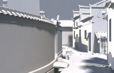 徽?#36175;?#27004;过道巷子场景maya模型