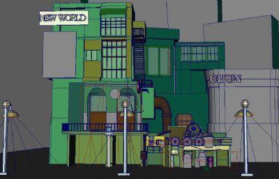 一��有��所,旅�^,餐�d的小街道maya模型
