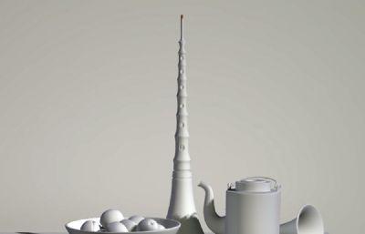 �菲魉�果茶�仂o物Maya模型