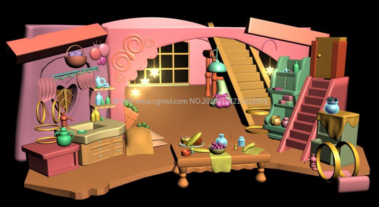 卡通�L格的客餐�d�鼍�maya模型