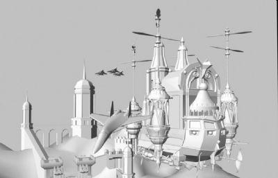 城堡+飞行的战斗机群maya模型