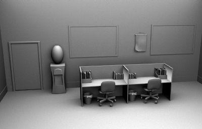 Q版风格的办公室maya模型