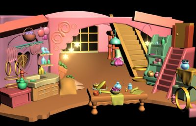 卡通风格的客餐厅场景maya模型