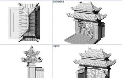 中式庭院�T�^大�T,�m合3d打印
