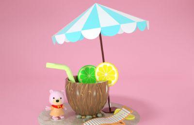 Q版夏日時光椰子殼飲料+躺椅,小熊C4D模型