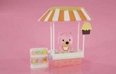 卡通小熊冰淇淋贩卖车C4D模型
