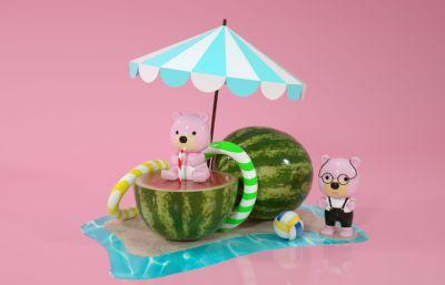 夏日西瓜上的卡通萌��小熊C4D模型