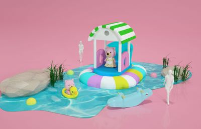 卡通�L格水池游泳嬉�虻男⌒�C4D模型