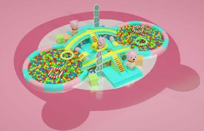 卡通小熊海洋球,波波池��吩O施C4D模型