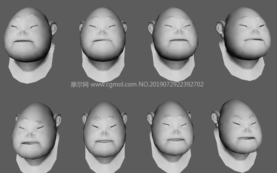 小胖子40多��面部表情maya模型