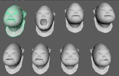 小胖子40多个面部表情maya模型