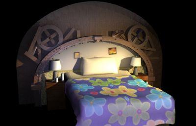卡通风格的单人床场景Maya模型,白天和黑夜两个MB模型,带贴图