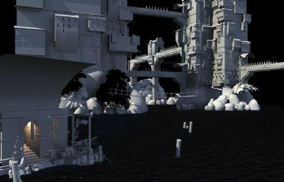水上城市科幻场景maya模型