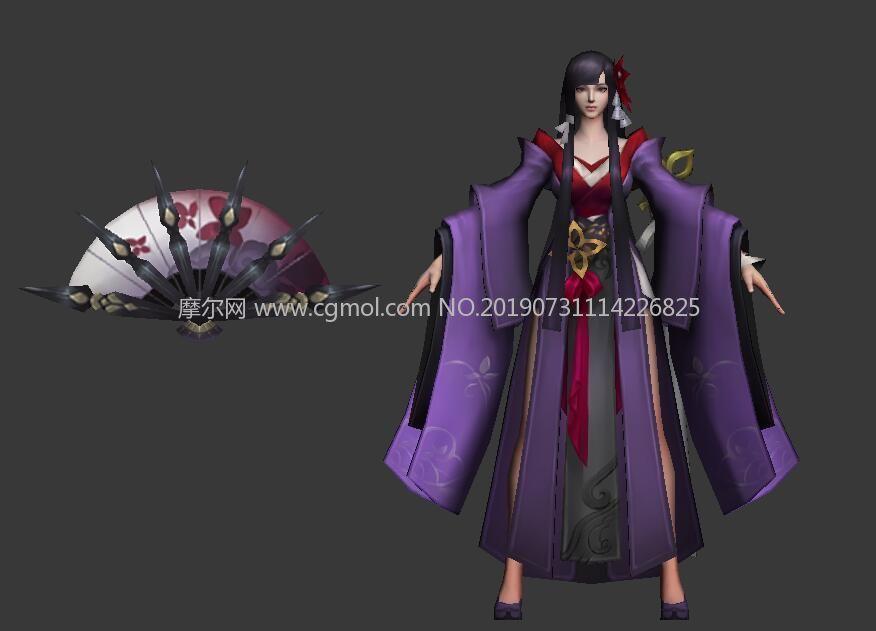 古代扇子女,地皇神农女max模型