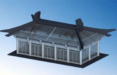 单体寺庙建筑max白模