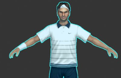 网球运动员费德勒max模型,带绑定