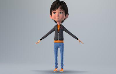 卡通�L的秋�b小男孩3D模型,corona渲染