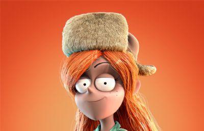 Wendy温蒂冬帽女孩MAX模型,带绑定