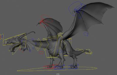 Dragon酷酷的飞龙maya模型,带绑定