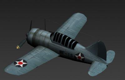 美國二戰水牛飛機F2A 3D模型