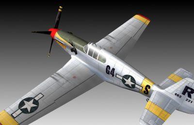美国二战经典飞机P51 3D模型,压缩包包含模型及PSD贴图文件