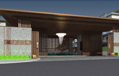 精致小区内庭入口景观模型(网盘下载)