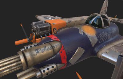 科幻破损飞机,文件包里有贴图,贴图需要重新调整