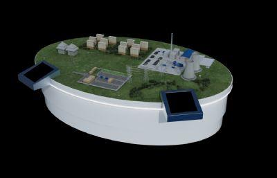 发电站配电用电及周边建筑规划沙盘