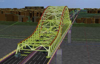 江面大桥桥梁,大桥湖水场景