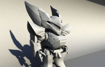 卡通风格酷酷的机器人,小机甲宠物maya模型
