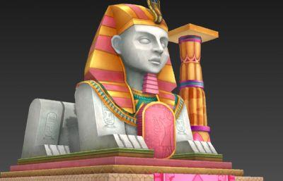 埃及狮身人面像及石柱3D模型