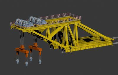 吊篮,大型桥面吊机3D模型