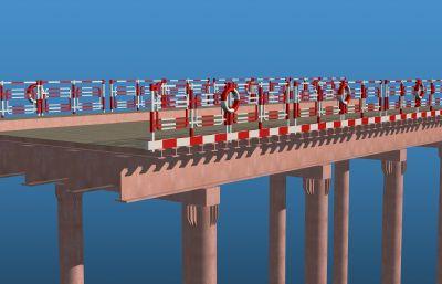 T型鋼鋼棧橋標準段3D模型