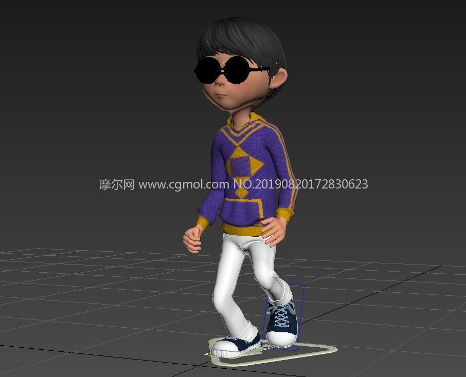 戴眼�R的小男孩,corona渲染,��小跑�赢�源文件