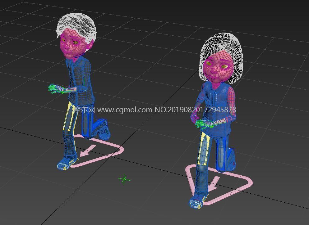深秋�b男女孩�M合模型,corona渲染,有跑步�赢�