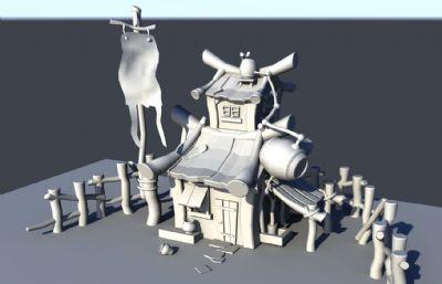 有�c卡通�L的酒�^maya模型