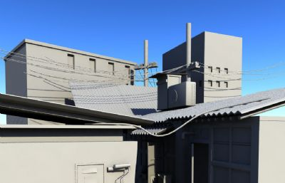 老城�^的一��弄堂老房子�鼍�maya模型