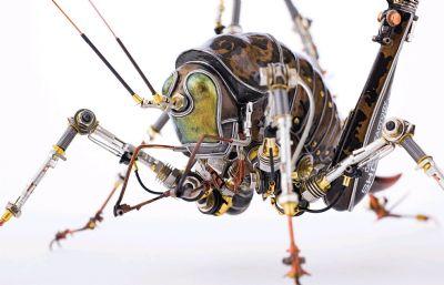 宇田川譽仁機械昆蟲,蒸汽朋克蟈蟈,蟋蟀,蛐蛐模型,MAX,MB,FBX,OBJ多格式,可3D打?。]有材質貼圖)