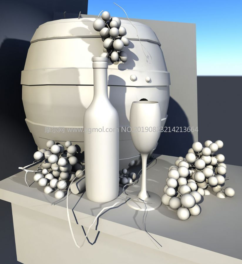 葡萄酒桶,葡萄酒,葡萄水果静物maya模型