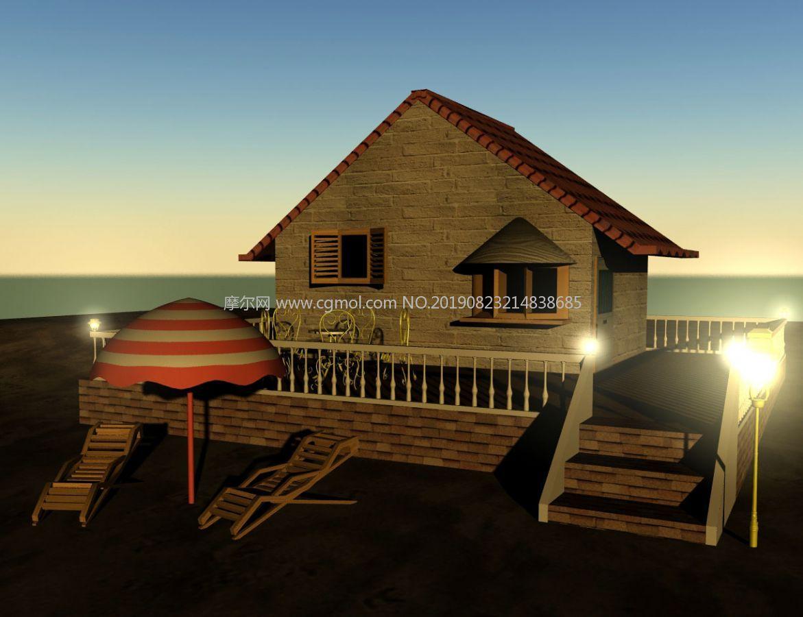 傍晚的海边沙滩小屋,沙滩伞,沙滩椅场景maya模型