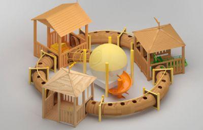 儿童攀爬管道滑梯+玩具max模型,丢失三张木块贴图