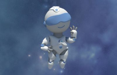 卡通风格摆pose的机器人OBJ模型