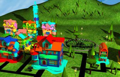 卡通村庄小区maya场景模型