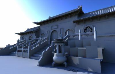 山庙,山门寺庙maya模型