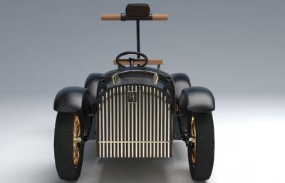 卡通DT儿童老爷车,D. Throne儿童电动车3D模型