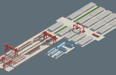一五孔箱梁預制場完整模型,包含箱梁預制模板,自動行走龍門吊,鋼筋綁扎模板,運梁炮車等